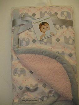 Baby Girl Pink and Gray Elephant Reversible Sherpa Blanket