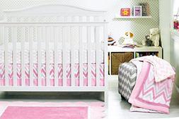 New Baby Girl Pink Stripe 8pcs Crib Bedding Set