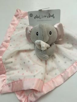 Jacks and Jules Baby Girl Security Blanket Pink Grey Elephant Layette Star Satin