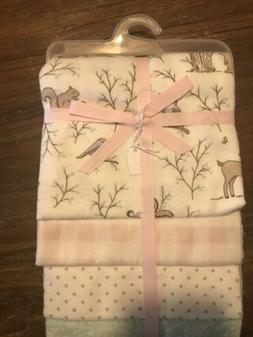 Baby Girl Wildlife Cotton Receiving Blanket Set Of 4