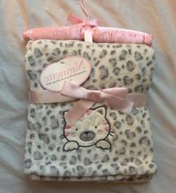 Baby Girls Blanket Cat Shower Gift Soft Infant Blankie Pink