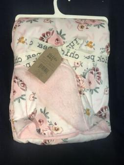 Chick Pea Baby Girls Blanket Pink White Flowers  Micro Mink/