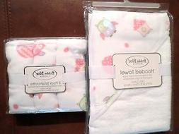 Bubba Blue Baby Girls Cotton/Muslin Hooded Towel & Washcloth