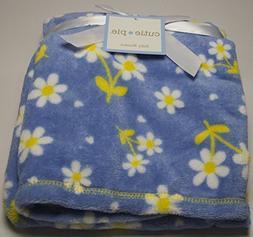 Cutie Pie Baby Girls Daisy Print Blanket Lightweight Blue/Ye