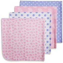Gerber Baby Girls 4 Pack Flannel Receiving Blanket, Leopard,