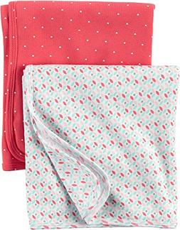 Carter's Baby Girls' 2-Pack Hello Cutie Swaddle Blankets