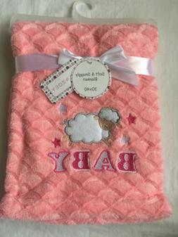 Baby Girls Plush Blanket Shower Gift, Pink, 30x40, Sheep, Ve