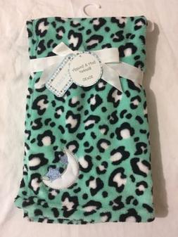 Baby Girls Plush Blanket Shower Teal Black, Moon, Gift Soft