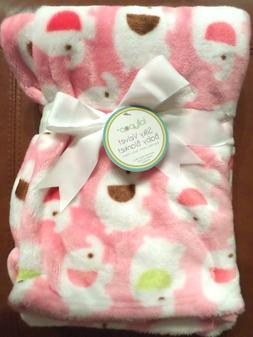 Lollypop Baby Girls Silky Velvet Elephant Print Blanket Pink