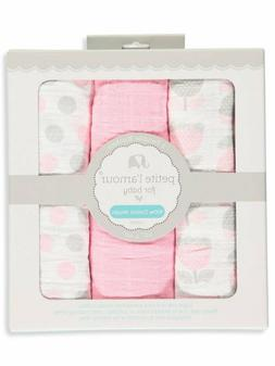 Petite L'amour Baby Girls' 3-Pack Swaddle Blankets - pink, o
