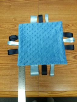 Baby homemade tag blanket soft bubble minky. navy,off wh,lt.
