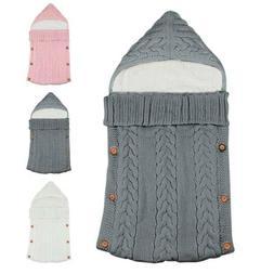 Baby Hooded Swaddle Knit Wrap Blanket Warm Stroller Fleece L