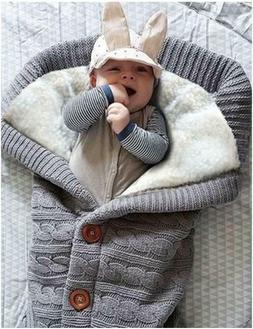 Baby Hooded Swaddle Knit Wrap Warm Blanket Pram Pushchair St