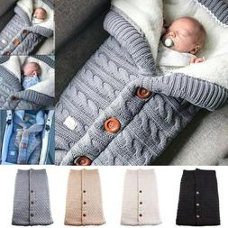 Baby Hooded Swaddle Knit Wrap Warm Blanket Pram Pushchair St