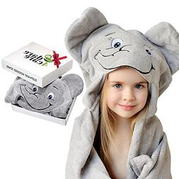 Elephant Hooded Towel for Kids, 100% Natural Cotton, Large B