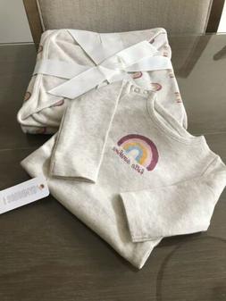Gymboree Baby Infant Blanket Set & One Piece 0-3M Cream Rain