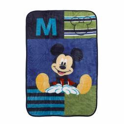 Disney Mickey Mouse Luxury Plush Throw Baby Blanket, Navy/Li