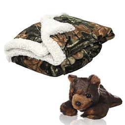 Baby Infant Camo and White Accent Soft Sherpa and Plushed Li