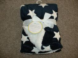 Lollypop Baby Infant Navy Blue White Star Blanket Sherpa Fle