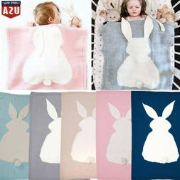 Baby Kids Bed Soft Quilt Rug Knit Warm Wool Rabbit Bunny Cro