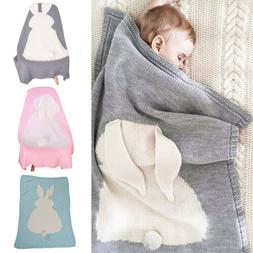 Baby Kids Rabbit Soft Knit Wool Blanket Covers Crocheted Sof