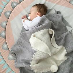 Baby Kids Toddler Cartoon Rabbit Sofa Throw Bedding Knitted