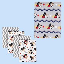 Disney Baby Let's Go Mickey Mouse Gray Chevron Print Blanket