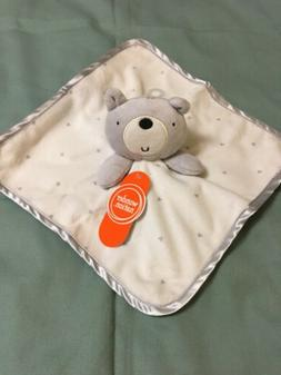 WONDER NATION Baby Lovey Security Blanket BEAR GRAY AND WHIT