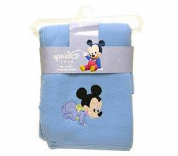DISNEY BABY MICKEY MOUSE BLUE EMBROIDERED FLEECE THROW BLANK