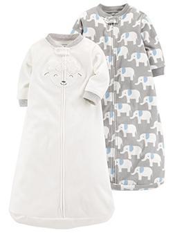 Carter's Baby 2-Pack Microfleece Sleepbag, Ivory Lamb/Grey E
