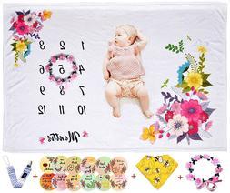 "Baby Milestone Blanket Girls 40""x50"" Monthly Personalized Ph"