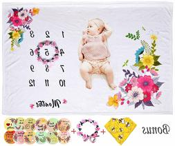 "Baby Milestone Blanket Girls 40""x50"" Monthly Personalized Ph"
