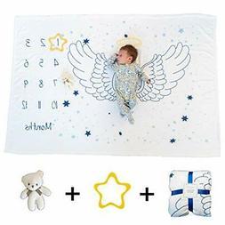 "Baby Milestone Blanket Set for Boy or Girl | Large 40""x 60"""