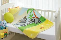 BabyMink Soft Plush Fleece Elephant Baby/Toddler Bed/Crib Bl