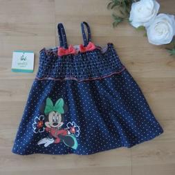 Disney Baby Minnie Mouse Chambray Polka Dot Dress 3-6 M