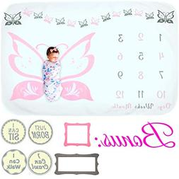 Baby Monthly Milestone Blanket - for Girl  Thick Fleece Phot