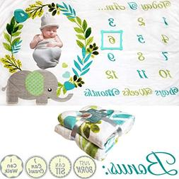 Baby Monthly Milestone Blanket - for Boy or Girl  Thick Flee
