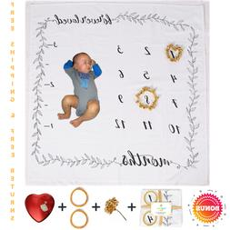 SIMPLY BLISS Baby Monthly Natural Milestone Blanket w/ BONUS