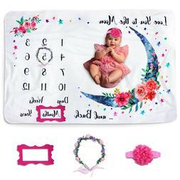 Baby Monthly Milestone Blanket for Baby Girl, Photo Blanket