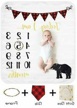 Baby Monthly Milestone Blanket for Boy Girl Organic Thick Fl