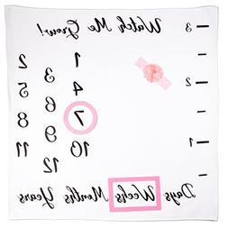 Baby Monthly Milestone Blanket Girl | Bonus Ruler, Frames, H