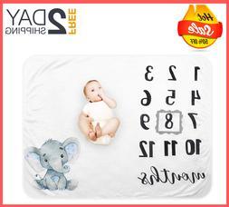 Baby Monthly Milestone Blanket Organic Plush Fleece for Boy
