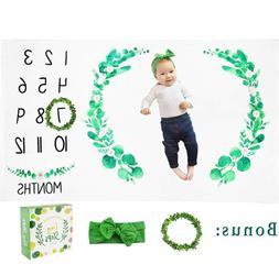 Monthly Baby Milestone Blanket Thick Fleece Leaf Wreath Mark