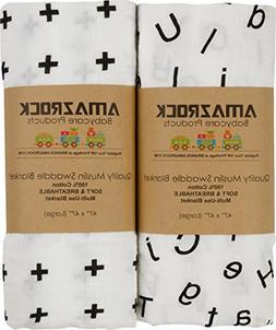 Amazrock Baby Muslin Swaddle Blanket - Soft 100% Cotton | 2
