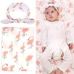 Elesa Miracle Baby Muslin Swaddle Blankets and Headband Set