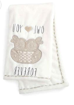 Levtex Home Baby Night Owl Plush Blanket, Taupe
