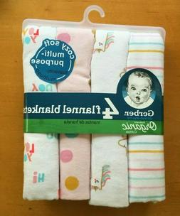 Gerber Baby Organic Cotton 4-Pack Flannel Blankets Pink Whit
