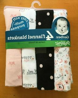 Gerber Baby Organic Cotton 4-Pack Flannel Blankets Pink Prin