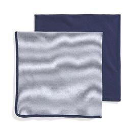 Moon and Back Baby Set of 2 Organic Swaddle Blankets, Navy S