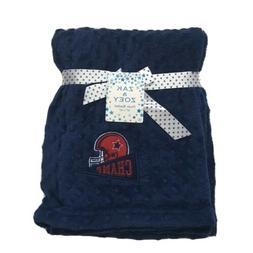 Baby Plush Blanket Shower Gift, Navy Blue, 30x40, Football C
